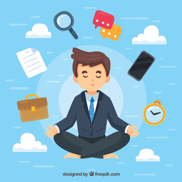 Concetto di meditazione con l'uomo d'affari Vettore gratuito
