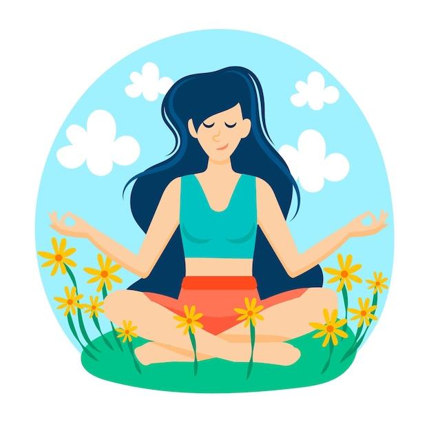 Concetto di meditazione in un campo di fiori Vettore gratuito