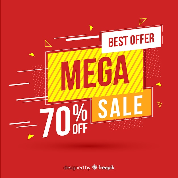 Concetto di mega vendita colorato banner Vettore gratuito