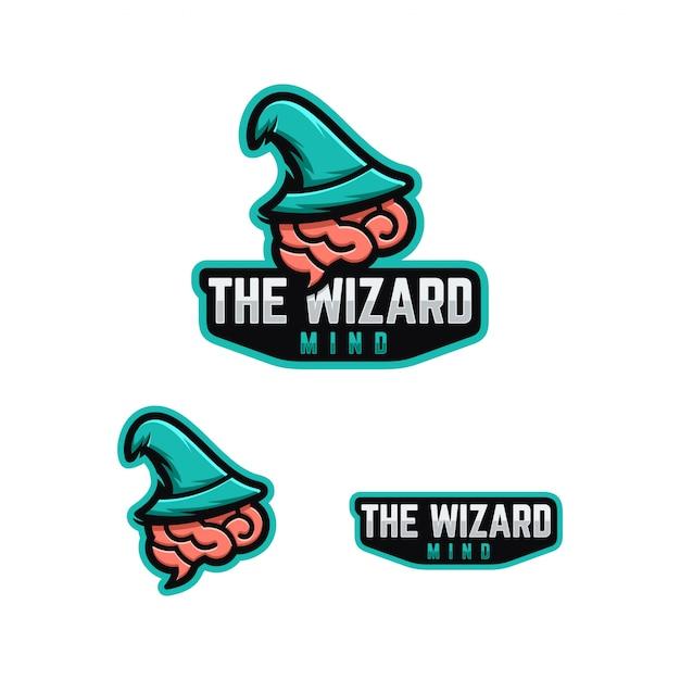 Concetto di mente logo wizard. Vettore Premium