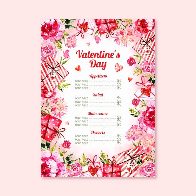 Concetto di menu tematico per san valentino Vettore gratuito