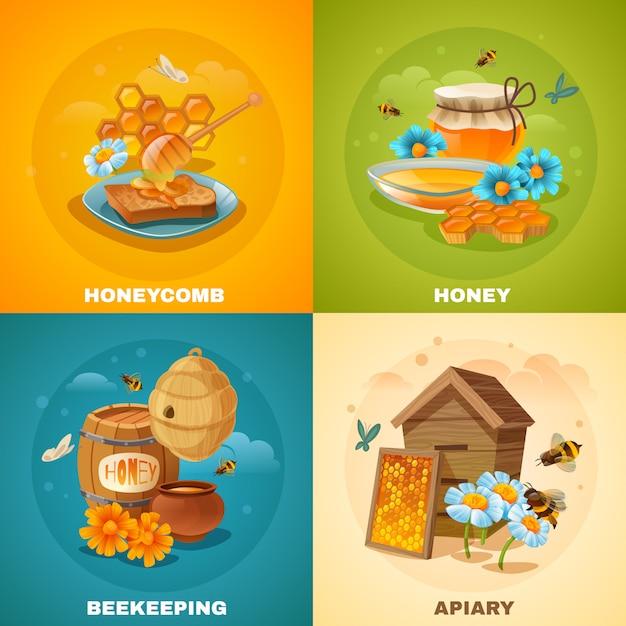 Concetto di miele Vettore gratuito