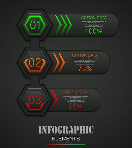 Concetto di modello di business infografica con 3 opzioni Vettore Premium