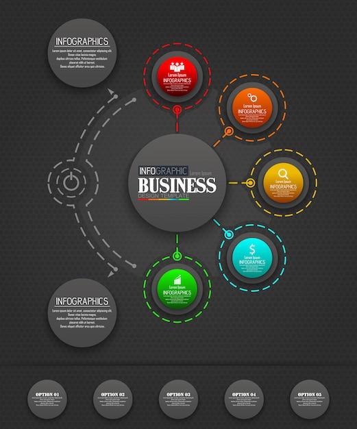 Concetto di modello di business infografica con 5 opzioni Vettore Premium