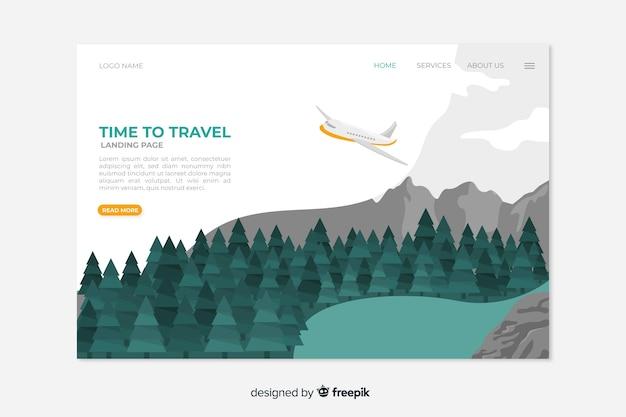 Concetto di modello di pagina di destinazione di viaggio Vettore gratuito