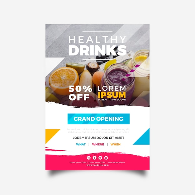 Concetto di modello di poster ristorante Vettore gratuito
