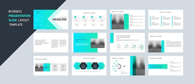 Concetto di modello di progettazione presentazione aziendale con elementi di infografica Vettore Premium