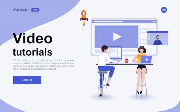 Concetto di modello di sito web per istruzione, formazione e corsi online. Vettore Premium