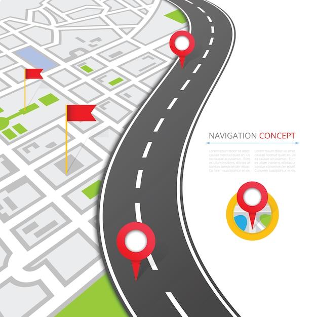 Concetto di navigazione con puntatore a spillo Vettore Premium