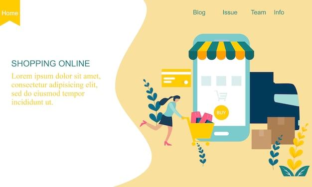 Concetto di negozio online di design piatto Vettore Premium