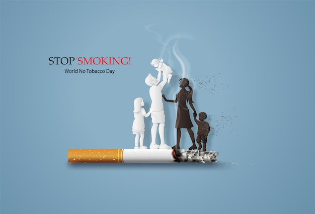 Concetto di no smoking e world no tobacco day con la famiglia. Vettore Premium