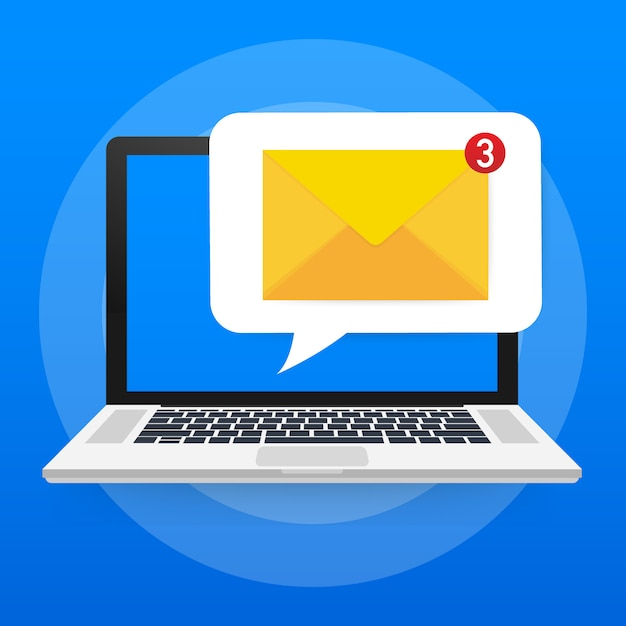 Concetto di notifica e-mail. nuova e-mail sullo schermo del laptop. . Vettore Premium