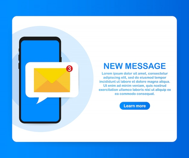 Concetto di notifica e-mail. nuova e-mail sullo schermo dello smartphone. Vettore Premium