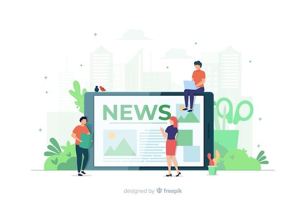 Concetto di notizie per la pagina di destinazione Vettore gratuito