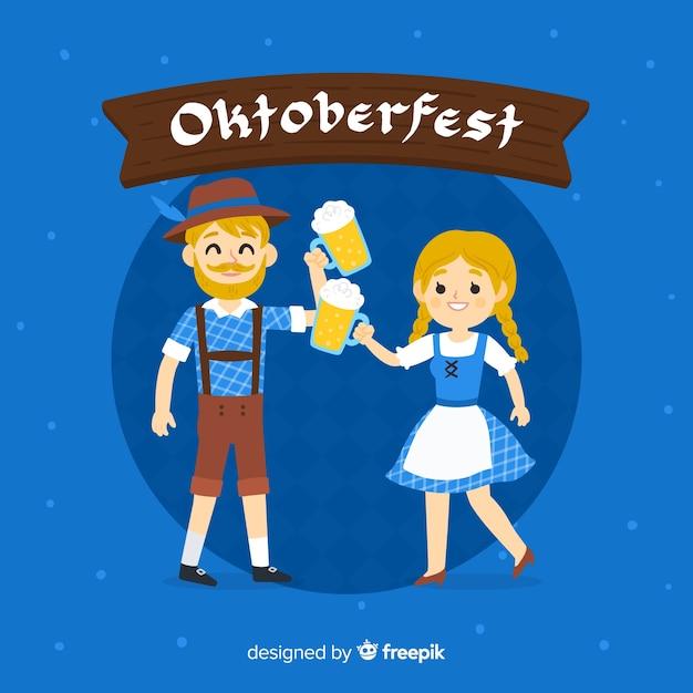 Concetto di oktoberfest con sfondo disegnato a mano Vettore gratuito