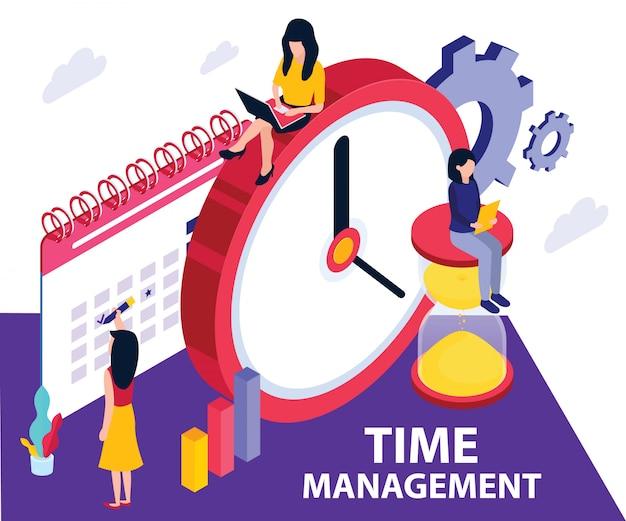 Concetto di opera d'arte isometrica della gestione del tempo. Vettore Premium