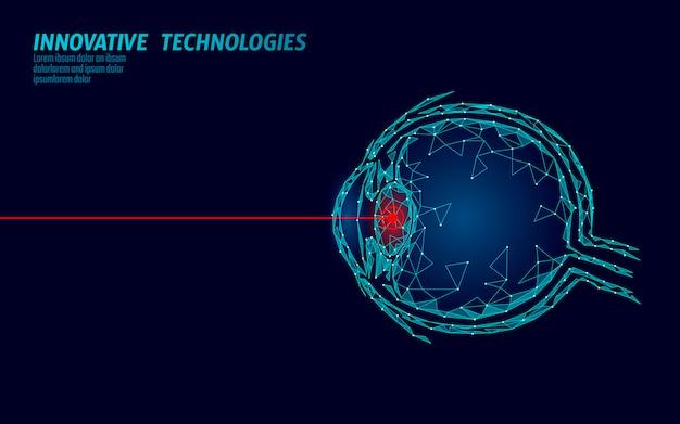 Concetto di operazione medicina correzione della visione laser. tecnologia dell'innovazione assistenza sanitaria. scanner biometrico a triangolo poligonale a basso poli 3d eye. oftalmologia bulbo oculare umano Vettore Premium