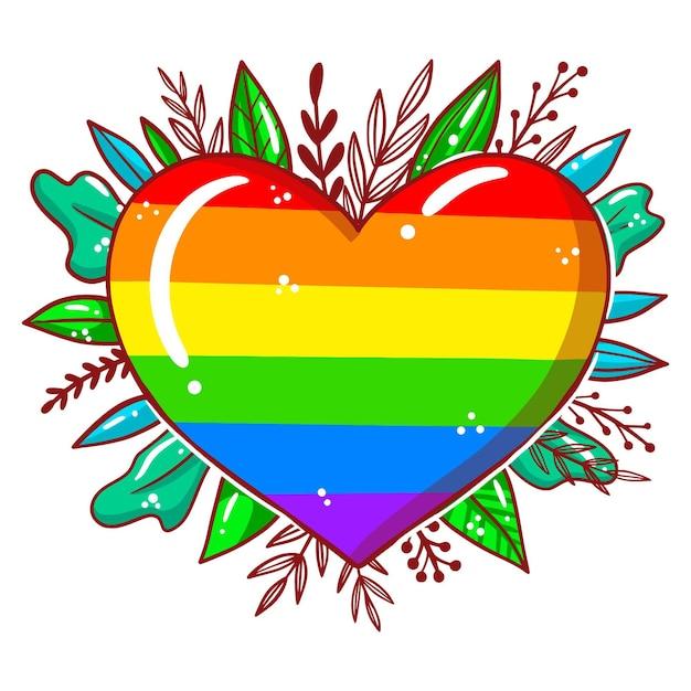Concetto di orgoglio con cuore e foglie Vettore gratuito