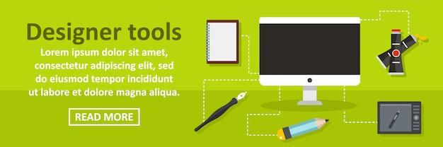 Concetto di orizzontale del modello dell'insegna degli strumenti del progettista Vettore Premium