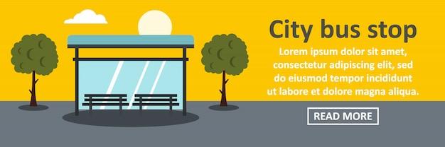 Concetto di orizzontale dell'insegna della fermata dell'autobus della città Vettore Premium