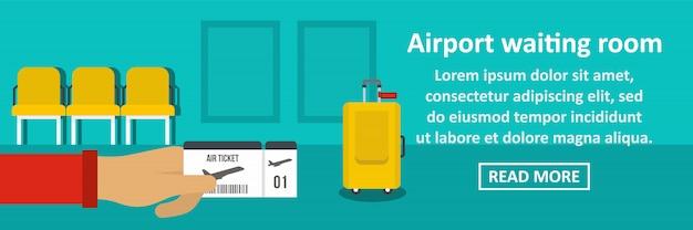 Concetto di orizzontale dell'insegna della sala di attesa dell'aeroporto Vettore Premium