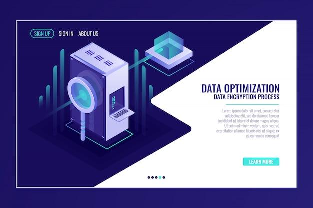 Concetto di ottimizzazione dei dati di ricerca delle informazioni, stanza del server, lente d'ingrandimento Vettore gratuito
