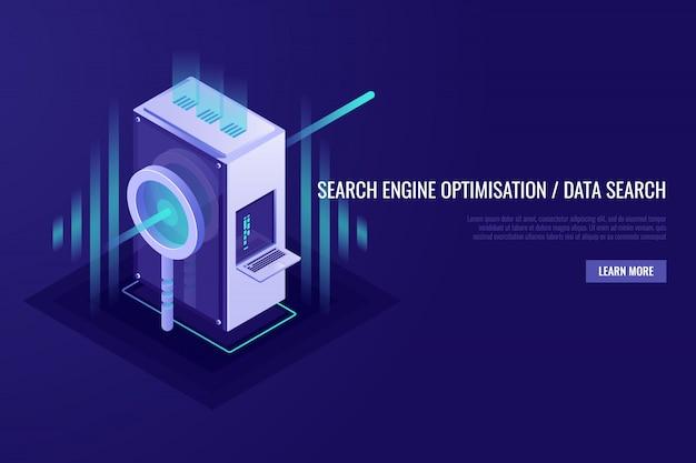Concetto di ottimizzazione dei motori di ricerca e ricerca dei dati. lente d'ingrandimento con rack per server Vettore gratuito