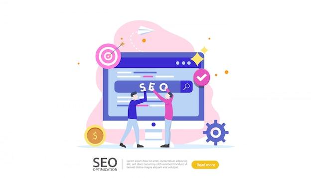Concetto di ottimizzazione del motore di ricerca seo Vettore Premium