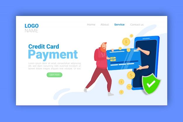 Concetto di pagamento con carta di credito per landing page Vettore gratuito