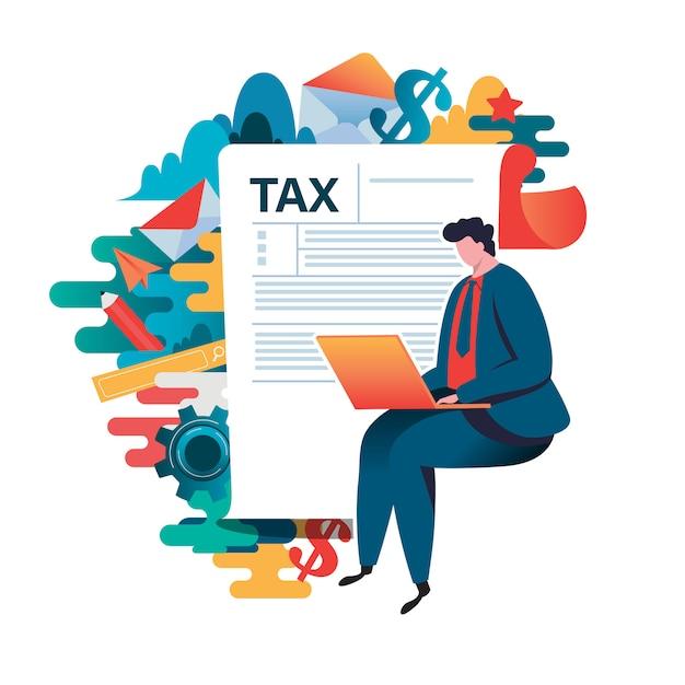 Concetto di pagamento delle tasse online. Vettore Premium
