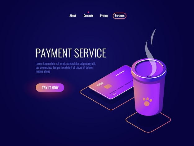 Concetto di pagamento e servizi bancari online, carta di credito, tazza di caffè, moneta elettronica neon scuro Vettore gratuito