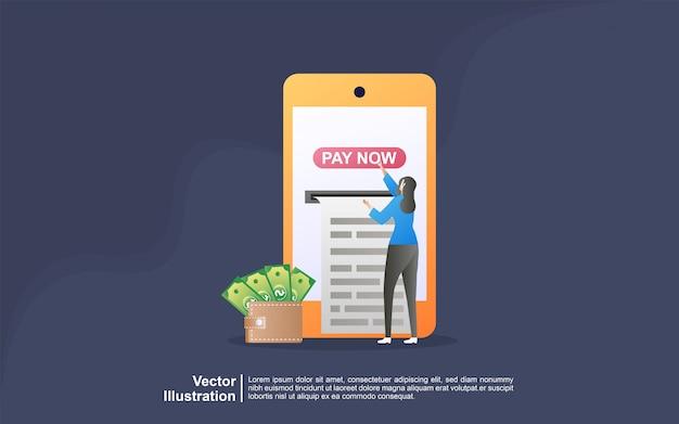 Concetto di pagamento online. le persone pagano per lo shopping online utilizzando una carta di debito o di credito. Vettore Premium