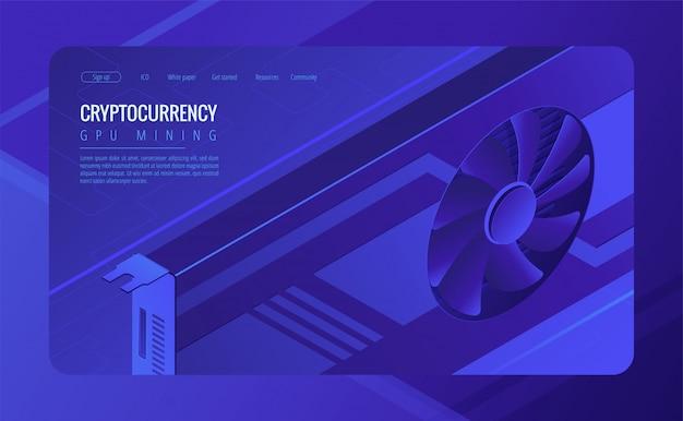 Concetto di pagina di destinazione di mining gpu isometrica. Vettore Premium