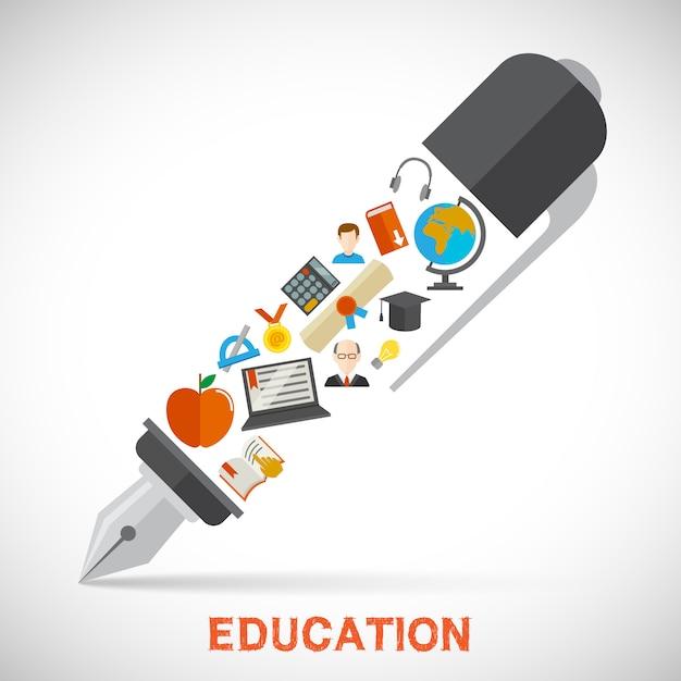 Concetto di penna di educazione Vettore gratuito