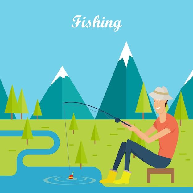 Concetto di pesca e campeggio. giovane pescatore Vettore Premium