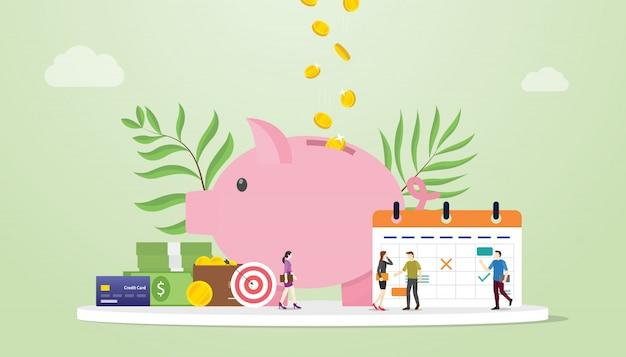 Concetto di pianificazione del budget mensile con salvadanaio e calendario con le persone del team Vettore Premium