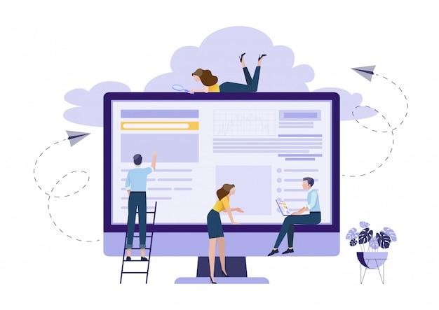 Concetto di pianificazione del lavoro di squadra Vettore Premium