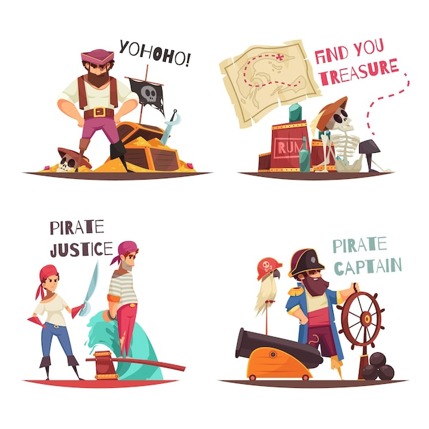 Concetto di pirata con personaggi umani piatti del capitano pirata dei cartoni animati e marinai con didascalie di testo Vettore gratuito