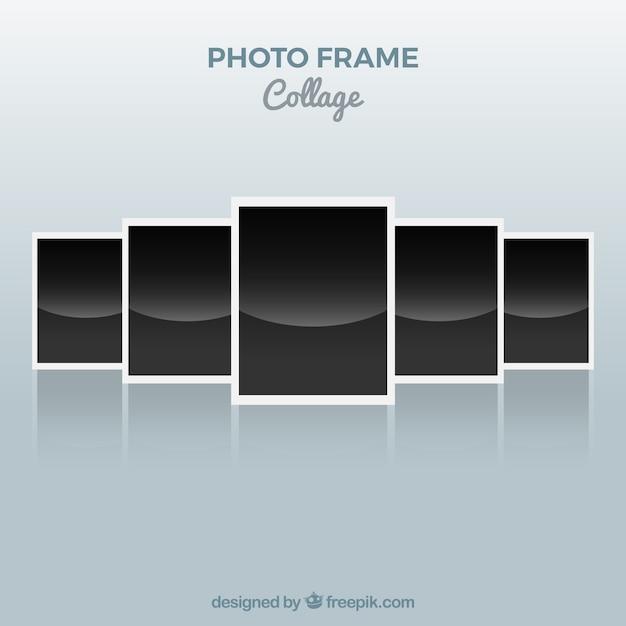Concetto di polaroid collage di foto cornice Vettore gratuito