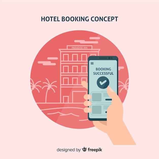 Concetto di prenotazione hotel in stile piano Vettore gratuito