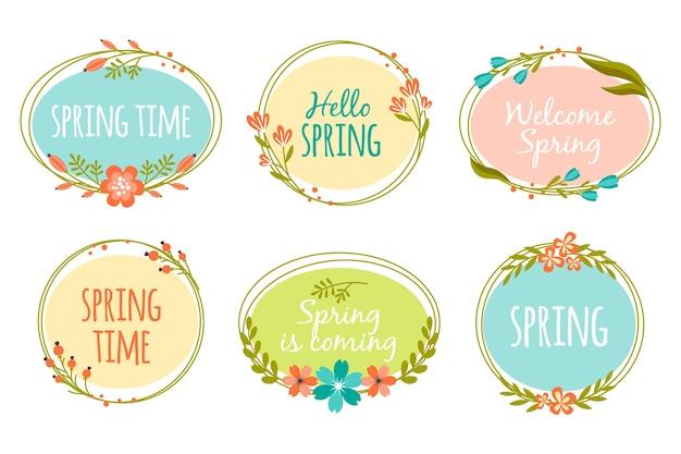 Concetto di primavera per la raccolta di etichette Vettore gratuito
