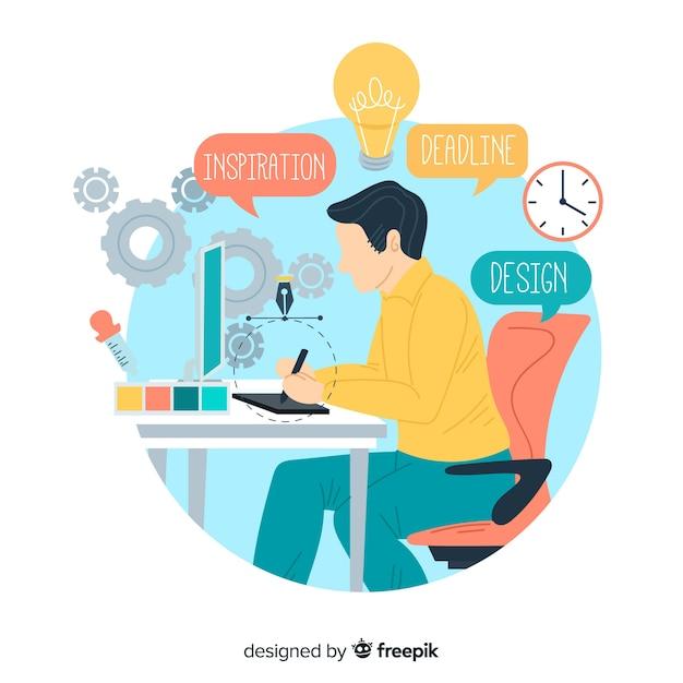 Concetto di processo creativo di progettazione grafica Vettore Premium