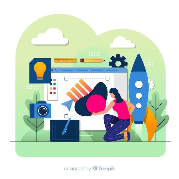 Concetto di processo creativo di progettazione grafica Vettore gratuito