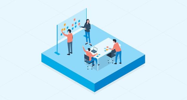 Concetto di processo di brainstorming di riunione e team di team di lavoro gruppo isometrico piatto vettoriale Vettore Premium