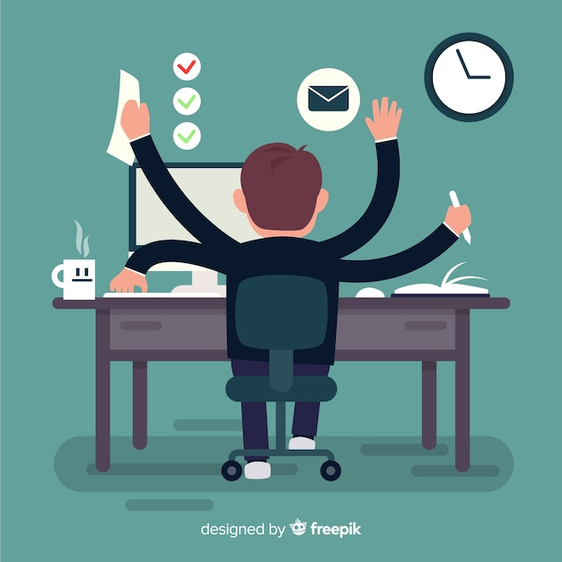 Concetto di produttività moderna con design piatto Vettore gratuito
