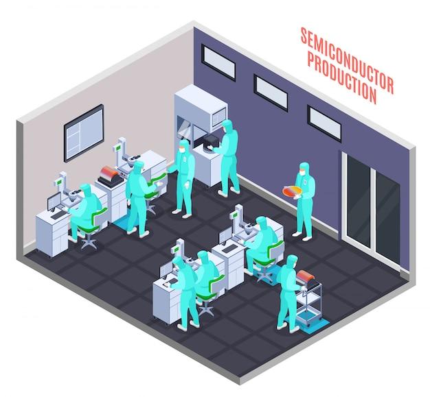 Concetto di produzione di semiconduttori con tecnologia e scienza simboli isometrici Vettore gratuito