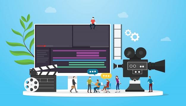 Concetto di produzione di video cinematografici con persone del team e editing di macchine fotografiche con uno stile piatto Vettore Premium