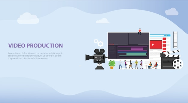 Concetto di produzione video cinematografico per modello di destinazione del sito web Vettore Premium