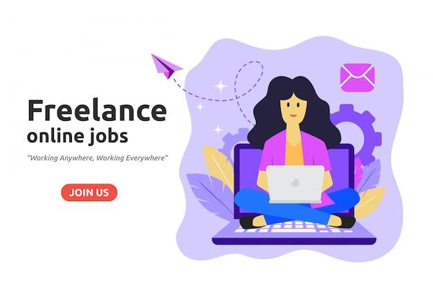 Concetto di progettazione di lavoro online freelance Vettore Premium