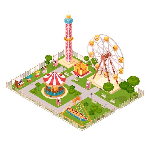 Concetto di progetto del parco di divertimenti con il carosello della ruota panoramica di altalena ed il fumetto isometrico degli elementi dell'attrazione estrema della famiglia Vettore gratuito